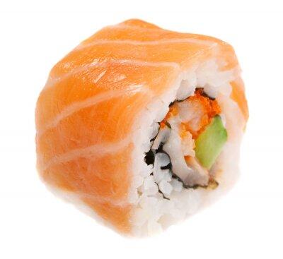 Sticker Maki-Sushi isoliert auf weißem Hintergrund