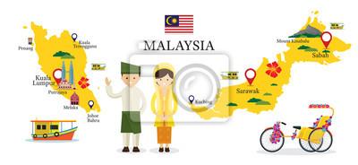 Malaysia Karte und Sehenswürdigkeiten mit Menschen in traditionelle Kleidung