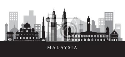 Malaysia Wahrzeichen Skyline in Schwarz-Weiß-Silhouette