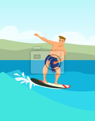 Male surfer cartoon vector color illustration