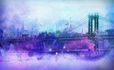 Sticker Malerische Ansicht von NYC Manhattan-Brücke und Fluss