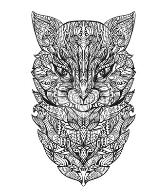 Malvorlage Für Erwachsene Mit Katze Kopf Zentangle Vektor