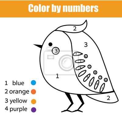 Malvorlage mit vogel farbe durch zahlen pädagogische kinder spiel ...