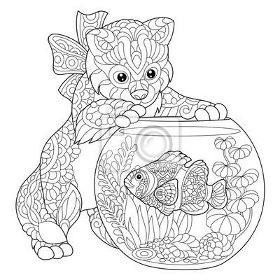 Malvorlage von kitten spielen mit clown fisch im aquarium. freehand ...