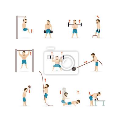 Man Athletisch Gym Gymnasium Training Fitness Workout Symbol