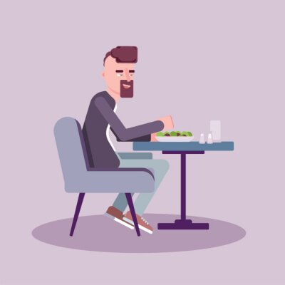Man have lunch in cafe flat vector illustration