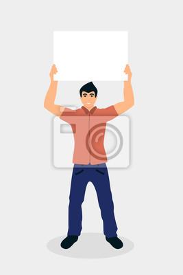 Man holding placard cartoon vector illustration
