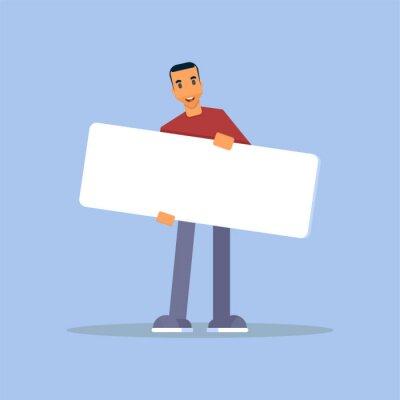 Man holding promo placard flat vector illustration