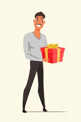 Man holding red gift box color vector illustration