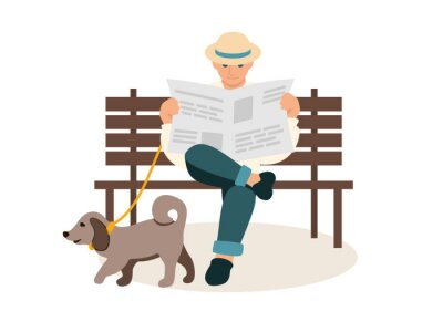 Man reading newspaper flat vector illustration