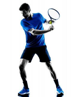 Sticker man silhouette playing tennis player