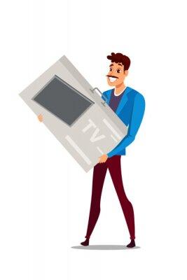 Man with huge box in supermarket vector illustration