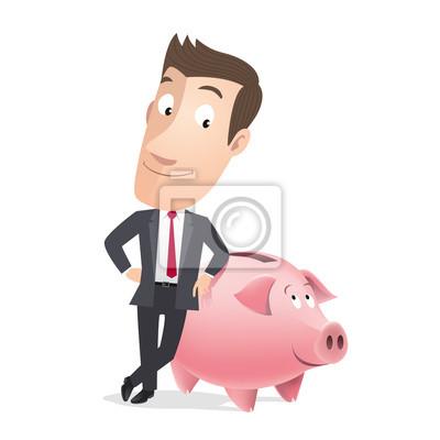 Manager vendeur, Gewerbe avec tirelire cochon. Vecteur CMJN
