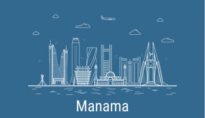 Manama city, Line Art Vector illustration with all famous buildings. Linear Banner with Showplace. Composition of Modern cityscape. Manama buildings set.