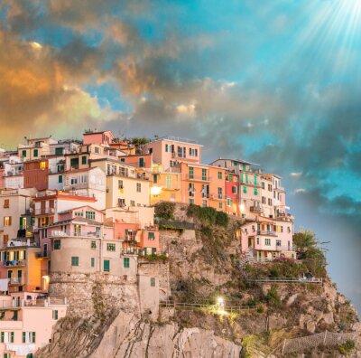 Sticker Manarola, Cinque Terre. Sunset over Five Lands, Italy