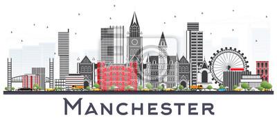 Manchester Skyline mit den grauen Gebäuden getrennt auf Weiß.