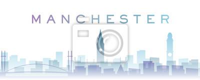 Manchester Transparent Layers Gradient Landmarks Skyline