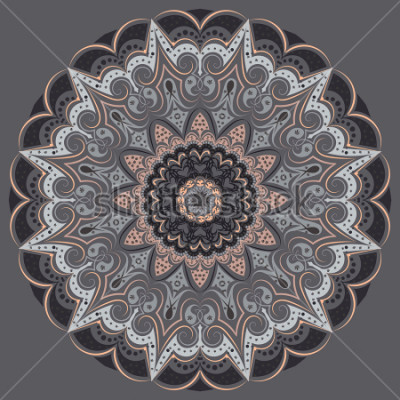 Sticker Mandala - in gray colors of different shades. Interior in loft style, brutal style. Geometric style, strict lines, interesting fashionable design.