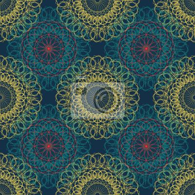 Mandala seamless ancient geometry pattern. Golden round ornament decoration of line art of flower with stylized Chakra symbol for yoga complex flourish weave medallion. Tattoo print.