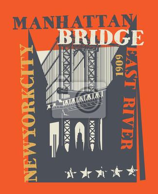 Manhattan bridge, New York city, silhouette