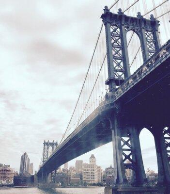 Sticker Manhattan-Brücke über den Fluss im Vintage-Stil, New York