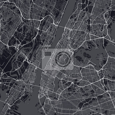 Manhattan map. Dark map of Manhattan borough (New York, United States). Highly detailed map of Manhattan with water objects, roads, railways, etc.