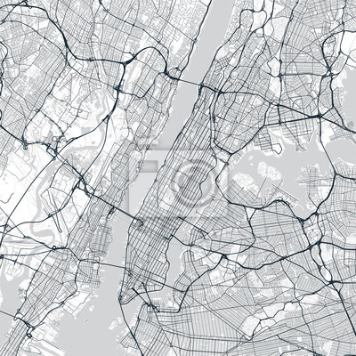 Manhattan map. Light map of Manhattan borough (New York, United States). Highly detailed map of Manhattan with water objects, roads, railways, etc.