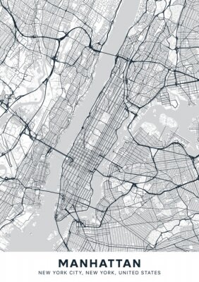 Manhattan map. Light poster with map of Manhattan borough (New York, United States). Highly detailed map of Manhattan with water objects, roads, railways, etc. Printable poster.