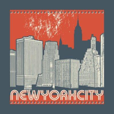 Sticker Manhattan, New York City, Schattenbildillustration