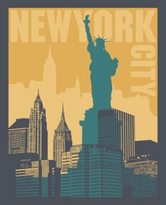 Sticker Manhattan, New York city, silhouette illustration