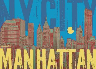 Manhattan, New York city, silhouette illustration in flat design