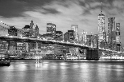 Sticker Manhattan und Brooklyn-Brücke Schwarzweiss, New York
