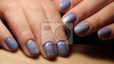 Manikure Nageldesign Blau Und Pailletten Gradienten Notebook Sticker