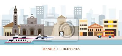 Manila, Philippinen Wahrzeichen Skyline
