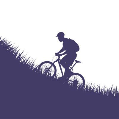 Sticker Mann auf Fahrrad Silhouette