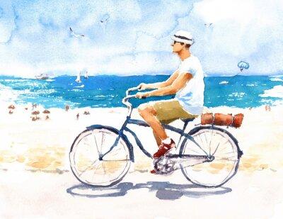 Sticker Mann auf Fahrrad Sommer Strand Szene Aquarell Illustration Hand bemalt