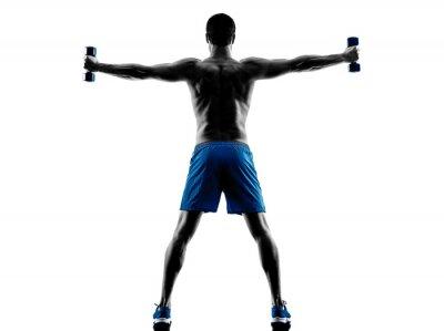 Sticker Mann Ausübung Fitness-Gewichte Silhouette