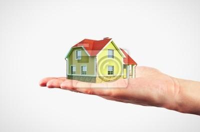 Mann Holding-Modell Haus in einer Hand