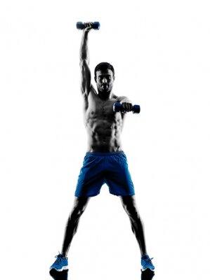 Sticker Mann mit der Ausübung Fitness-Gewichte silhouette