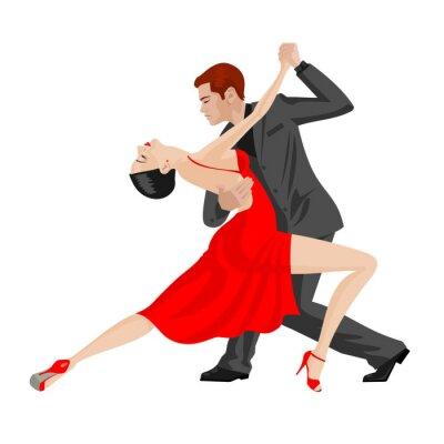 Sticker Mann und Frau tanzen