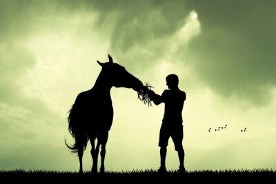 Sticker Mann und Pferd bei Sonnenuntergang