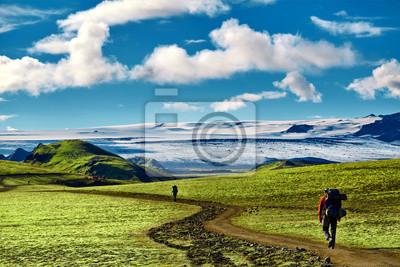 Mann Wanderer auf der Spur in den Islandic Bergen. Wanderung im Nationalpark Landmannalaugar, Island. Tal ist mit leuchtend grünem Moos bedeckt