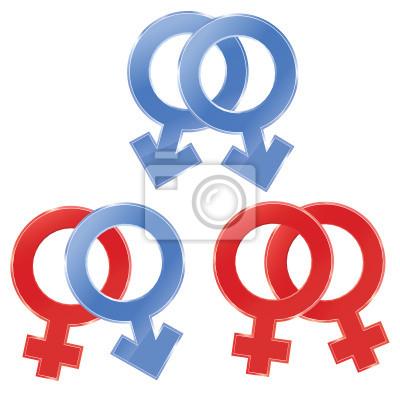 Männliche und weibliche Symbole. Homosexuell, Lesben