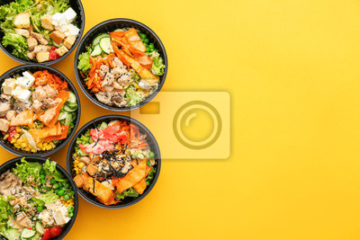 Sticker Many containers with delicious food on color background