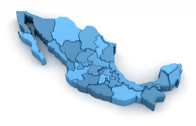 Sticker Map of Mexico. Image with clipping path.