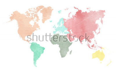 Sticker Map of the continental world in watercolor in six different colors