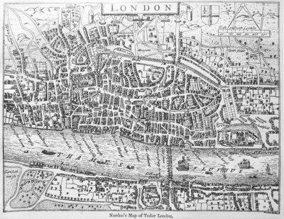 Map of Tudor London in the Stewart Period (1603 -1714) in the old book The Encyclopaedia Britannica, vol. 14, by C. Blake, 1882, Edinburgh