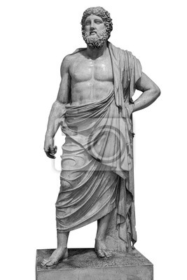 Sticker Marble statue of greek god Zeus isolated on white background