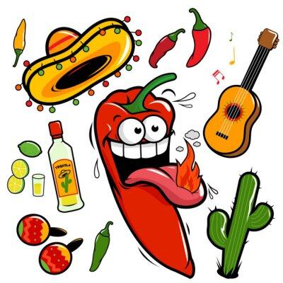 Sticker Mariachi Mexican chili pepper Icon-Sammlung.