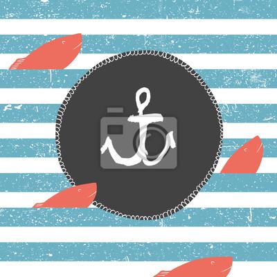 Marine Hintergrund. Blaue Linien Muster. Roter Fisch. Nautikkarten-Etikett mit Anker-Symbol